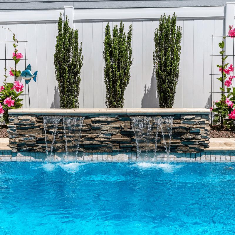 Fiberglass Plunge Pool with Travertine Patio